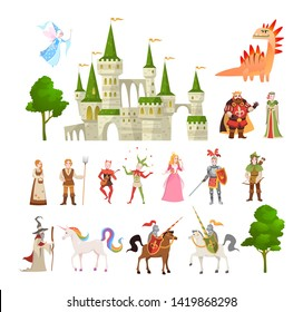 Fairytale characters. Fantasy medieval magic dragon, unicorn, princes and king, royal castle and knight, vector magic story set
