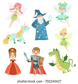 Fairytale characters set in different costumes. Princess, funny unicorn. Wizard, dragon and knight. Vector illustrations in cartoon style. Fairy wing and unicorn, knight and magic dragon