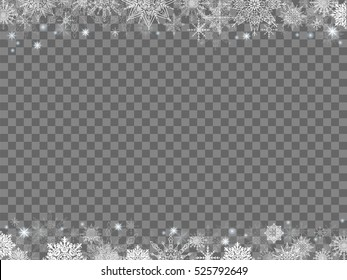 fairytale christmas background many snowflakes frame transparent gray rectangle