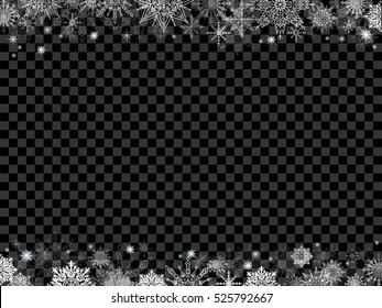 fairytale christmas background many snowflakes frame transparent black rectangle