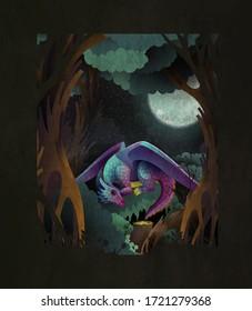 Märchenhafte Titelgrafik süßer Babydrache, der vor dunklem Zauberwald und Narlmond auf Gras schläft