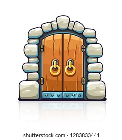 Fairy-tale door with golden handles. Entrance to stone dungeon or secret room with treasures. Isolated white background. EPS10 vector illustration.