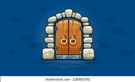 Fairy-tale door with golden handles. Entrance to stone dungeon or secret room with treasures. Banner on blue background. EPS10 vector illustration.