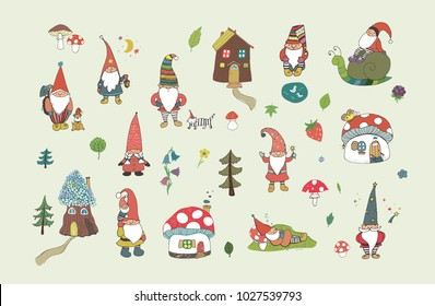 Fairytale fantastic gnome dwarf elf cartoon doodle funny vector illustration