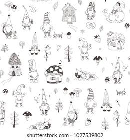 Fairytale fantastic gnome dwarf elf cartoon doodle funny vector seamless pattern
