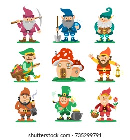 Fairy-tale fantastic gnome dwarf elf character poses magical leprechaun cute fairy tale man vector illustration