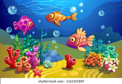 Fairytale a fish. Vector underwater world. Fishes among algae.