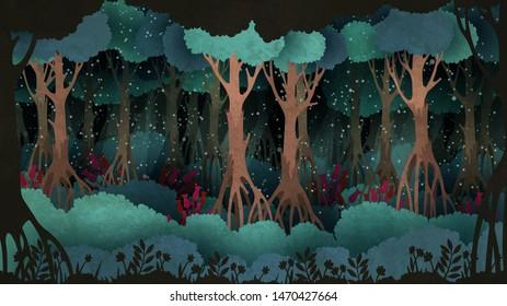 Fairytale Waldhintergründe. Alte Bäume, die in der Nacht von Flittern umgeben sind.