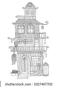 Fairytale house with a lot of terraces and hearts. Hand drawn picture. Sketch for anti-stress coloring page in zentangle style. Vector illustration.