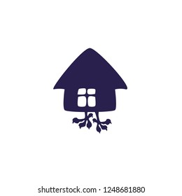 Fairytale hut on chicken lags silhouette for icon, logo, magic. Simple vector illustration