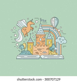 Fairytale illustration with open book and magic elements. Castle, balloon, rainbow, unicorn made in modern linear style vector. Imagination and creative process concept.