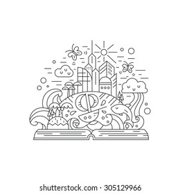 Fairytale illustration of open book with modern city, rainbow, palms, boat, island, butterflies. Eco living and healthy planet thin line vector drawing. Imagination concept.