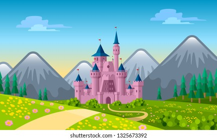 Fairytale landscape with old medieval castle. Calm spring or summer scenery with flowers, meadows, trees and mountains in fairy cartoon style. Vector illustration.