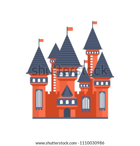 Fairytale Medieval Castle Flags Vector Illustration Stock Vector