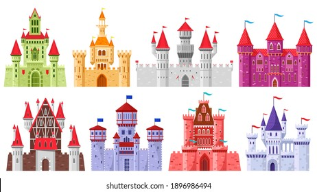 Fairytale medieval towers. Cartoon royal kingdom towers, old ancient magic castles vector illustration set. Medieval architecture stone castle. Mysterious colorful fortress for king and queen