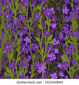 Fairytale pattern design with rising forget-me-nots. Night Meadow floral vector seamless pattern. Lots of small   purple forget-me-flowers, green stalks on black background.