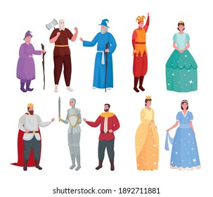 Fairytale people cartoons symbol set design, Fantasy magic and medieval theme Vector illustration