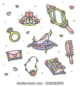 Fairytale princess fantasy elements. Glass slipper, magic mirror, etc