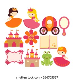 Fairytale princess vector in pink and orange.