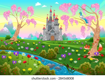 Fairytale scenery with castle. Cartoon vector illustration.