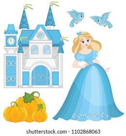 Fairytale Set- Cinderella, pumpkin, castle