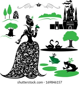 Fairytale Set - silhouettes of Princess and frog, castle, forest, lake, swans.
