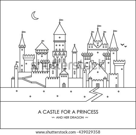 Fairytale Story Kids Girls Magic Castle Stock Vector Royalty Free