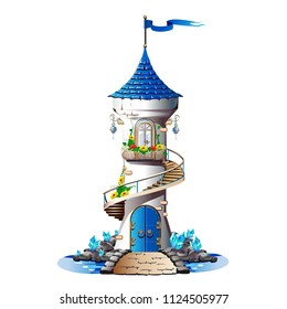 Fairytale tower with blue crystals. Magic vector illustration.