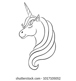 Fairy-tale Unicorn, sketch for coloring book, fantasy concept.