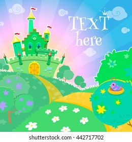 Fairytale vector card, background, poster with yellowbrick road leading to emerald city.