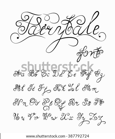 Fairytale Vector Hand Drawn Calligraphic Font Stock Vector Royalty