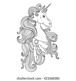 Hand Drawing Unicorn For Adult Anti Stress Coloring Pages Artistic Fairy