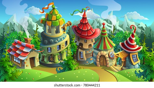 A fairytale village with bright houses and castles. Vector illustration for design background. Panorama.