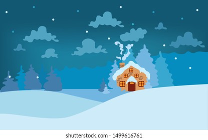 Fairytale winter landscape. A cozy house and blue spruce trees in a snowy valley under lush clouds. Vector illustration in cartoon style.