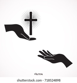Faith concept. Supporting Religion. Icon, isolated on white background, flat style.