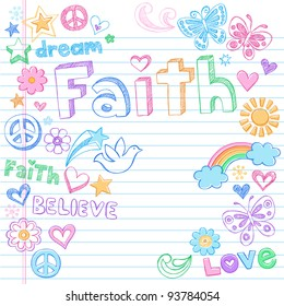Faith Hand Drawn Back to School Style Sketchy Notebook Doodles Vector Illustration Design Elements on Lined Sketchbook Paper Background