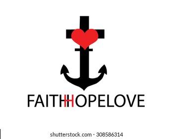 Faith Hope Love draw vector.
