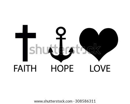 Faith Hope Love Drawing Vector Stockvector Rechtenvrij 308586311