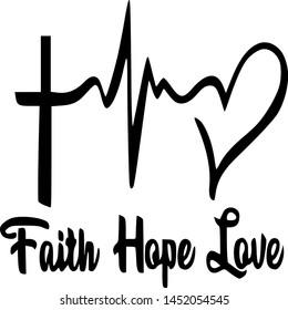 faith hope love. heartbeat vector