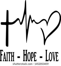 faith hope love. vector sign