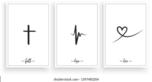 Faith, Hope, Love, vector. Wording design, lettering. Minimalist three pieces poster design. Scandinavian art design. Wall art work, wall decoration. Minimalism background