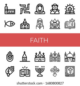 faith simple icons set. Contains such icons as Monastery, Christianity, Swastika, Church, Nun, Jesus, Mosque, Bible, Jainism, Prayer, Menorah, can be used for web, mobile and logo