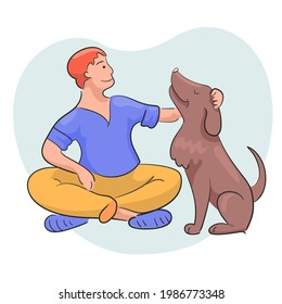 Faithful dog sits next to the owner. The man strokes the pet on the head. Cute flat vector illustration about friendship of human and domestik dog.