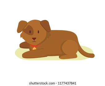 Faithful watchdog puppy farm animal in cartoon style. Domestic dog animal as pet and household helper vector illustration in color isolated on white.