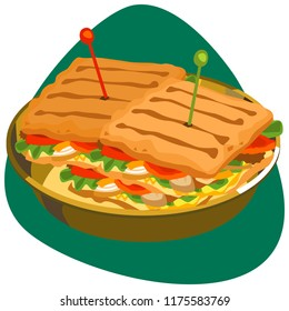 Fajita sandwiches with grilled bread, salad, tomatoes, onion, and chicken meat in golden dish on green background