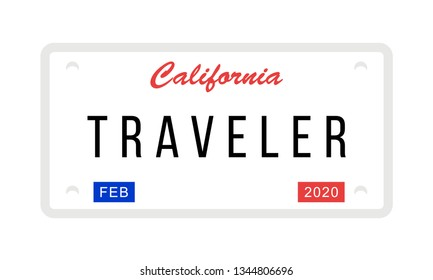 Fake California License Plate with the word: Traveler, Vector Illustration