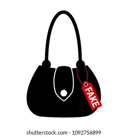 Fake and counterfeit luxurious handbag and bag. Replica and illegal imitation is sold by seller in the shop and store. Vector illustration