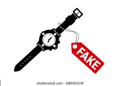 Fake and counterfeit luxurious watch. Illegal copy of original branded wristwatch is sold by seller in the shop and retail. Cheap replica and imitation of product. Vector illustration