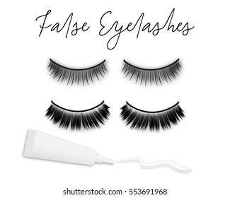669da56ef0b Fake eyelashes and glue with white stripe isolated on white background, vector  illustration. Woman's