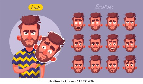 Fake face. Bad man wear good mask. Cartoon vector illustration. Set of emotions.